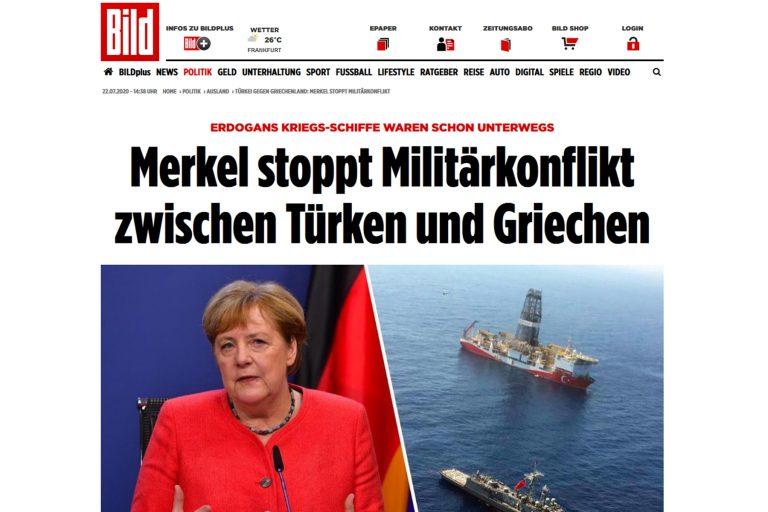 Τουρκική Navtex: Η Μέρκελ σταμάτησε τη στρατιωτική σύγκρουση μεταξύ Τούρκων και Ελλήνων, λέει η Bild